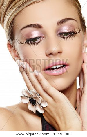 Beautiful Woman With Long Eyelashes.