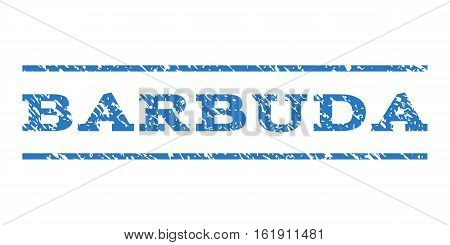 Barbuda watermark stamp. Text caption between horizontal parallel lines with grunge design style. Rubber seal stamp with dust texture. Vector smooth blue color ink imprint on a white background.