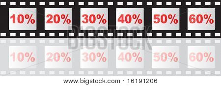 (raster image of vector) filmstripe with percent