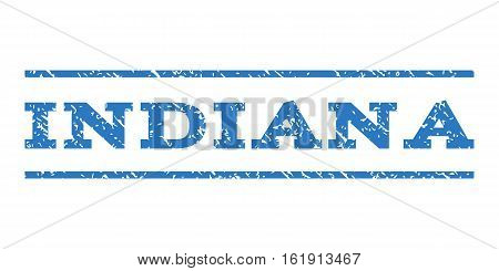 Indiana watermark stamp. Text caption between horizontal parallel lines with grunge design style. Rubber seal stamp with dust texture. Vector smooth blue color ink imprint on a white background.