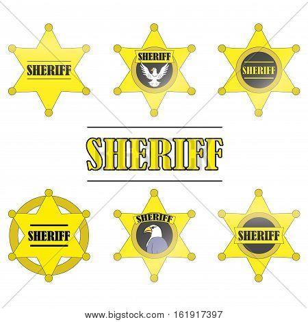 Sheriff Stars icon set isolated on white background vector illustration