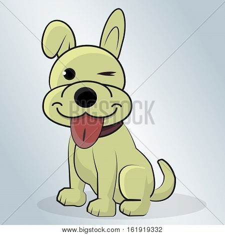 poster of Beautiful Happy Dog cartoon vector illustration on a blue background.