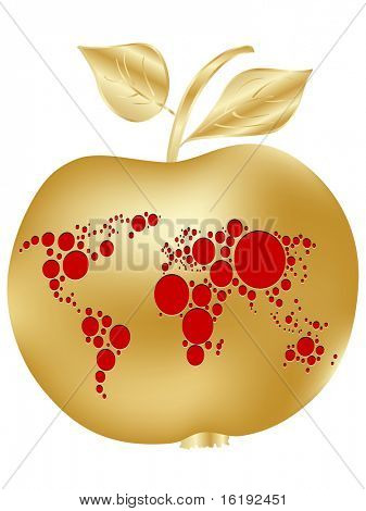 (raster image of vector) golden apple with world map