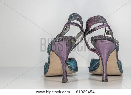 Old training woman tango shoes - totally worn out while dancing