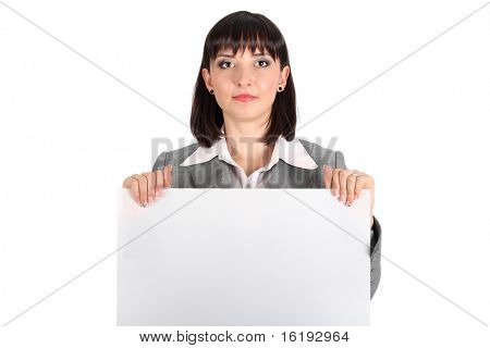 business woman behind a white paper