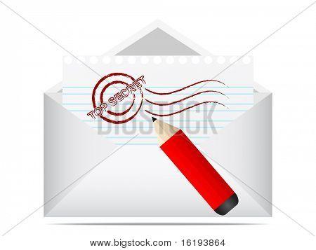(raster image of vector) top secret letter