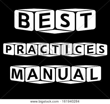 Best practices manual illustration concept with a black background