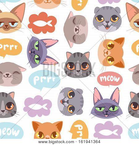 Cat head seamless pattern cartoon animal graphic design. Decorative funny cat head seamless pattern kitten character vector. Cats drawing fashion print domestic kitty.