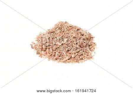 shredded oak bark on a white background