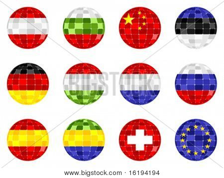 modern world flag icon mosaic pattern