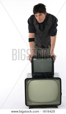 Old And New Tv Technology Concept