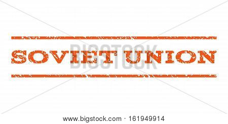 Soviet Union watermark stamp. Text tag between horizontal parallel lines with grunge design style. Rubber seal stamp with dirty texture. Vector orange color ink imprint on a white background.