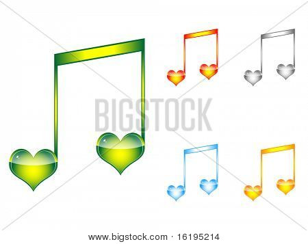(raster image of vector) musical love key
