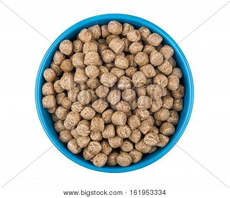 Extruded Rye Bran In Glass Blue Bowl Isolated On White