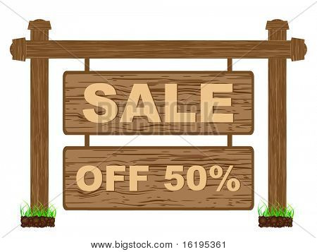 (raster image of vector) advertising banner for sales fifty percent discount