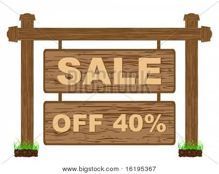 (raster image of vector) advertising banner for sales forty percent discount