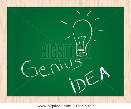 genius idea drawn on blackboard