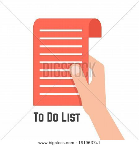 hand holding red to do list. concept of shopping, grocery list, marketing, buyer, purchase, retail, organize, page. isolated on white background. flat style trend modern design vector illustration