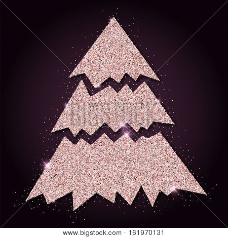 Pink Golden Glitter Magnificent Christmas Tree. Luxurious Christmas Design Element, Vector Illustrat