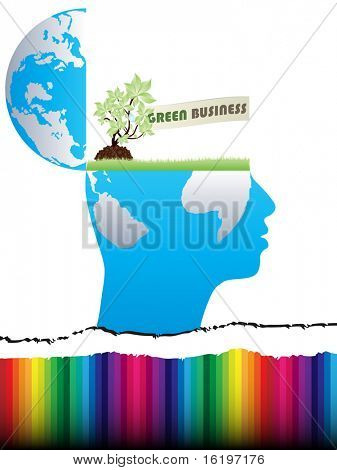 (raster image) open mind design with green business