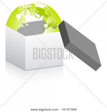 open box with world globe inside
