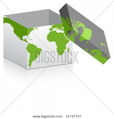 (raster image) open box with map on it