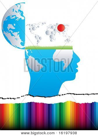 (raster image) open mind with world map