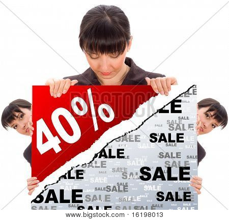business woman behind a promotional paper