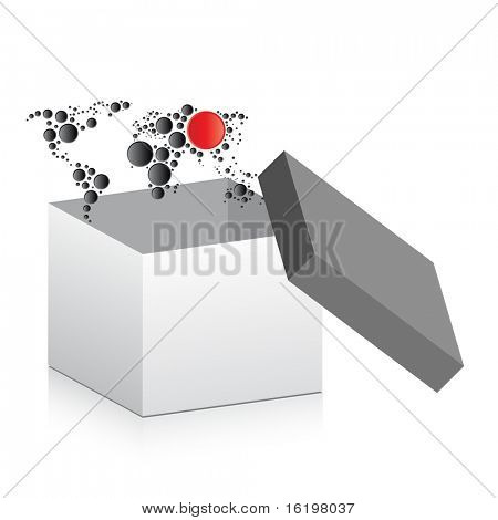 (raster image) open box with map inside