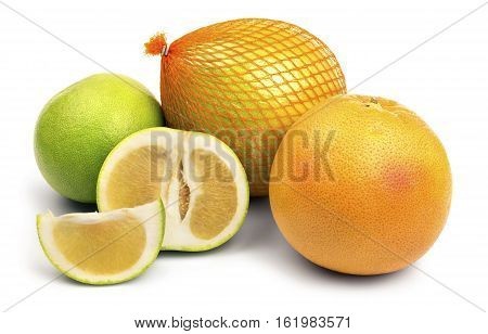 Set of different citrus fruits such as pomelo, grapefruit and sweetie, isolated on a white background.