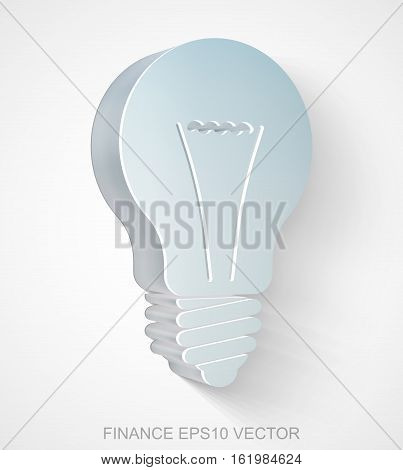 Business icon: extruded Metallic Light Bulb with transparent shadow, EPS 10 vector illustration.