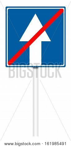 Informative Traffic Sign - The End Of Road With One-way Traffic