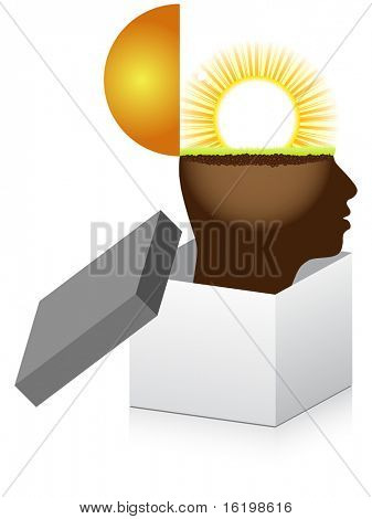 (raster image) open box with human mind