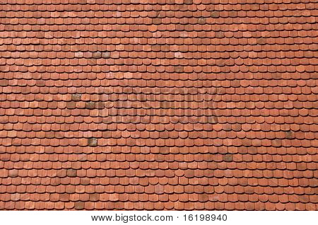orange roof tiles close up detail