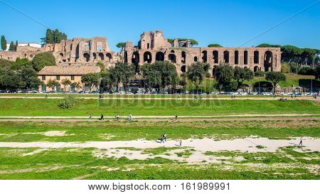 Circus Maximus an ancient Roman chariot racing stadium and the ruins in the Palatine hills in Rome Italy