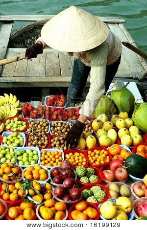 some fruits on boat - vietnam
