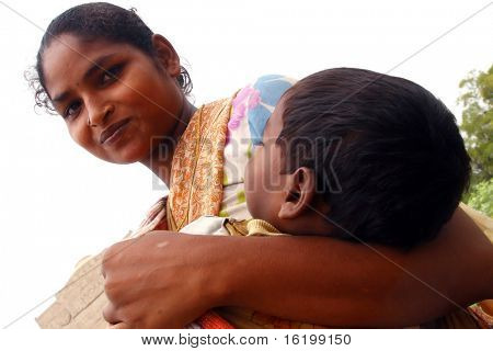 woman with boy - India