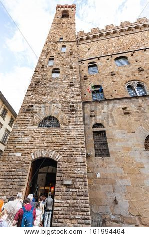 People In Line In Bargello Palace In Florence