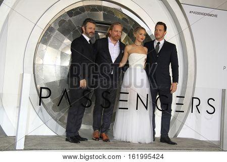 LOS ANGELES - DEC 14:  Michael Sheen, Morten Tyldum, Jennifer Lawrence, Chris Pratt at the