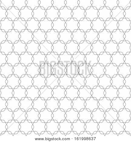 Vector monochrome seamless pattern, repeating geometric tiles, ornamental tracery background, black & white. Oriental style endless texture. Design for tileable print, textile, wrapping, digital, decoration, web