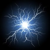 Thunder storm flash light on black background. Vector realistic electricity lightnings. Illustration poster