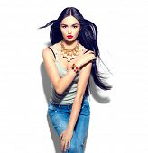 Beauty fashion model girl with long straight flying hair, beautiful make up, Beautiful brunette youn poster