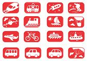 image of cruise ship  - Red and white transportation icon set  - JPG