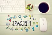 Javascript Concept With Workstation poster