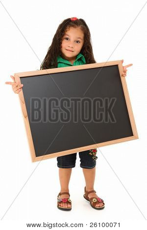Beautiful three year old hispanic girl with blank chalkboard over white.