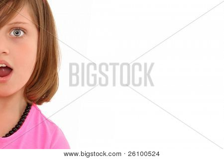 Beautiful 10 year old girl with  surprised expression over white background.