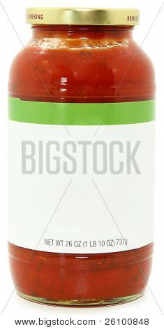 26oz jar of marinara spaghetti sauce with blank label for text over white background with clipping path.