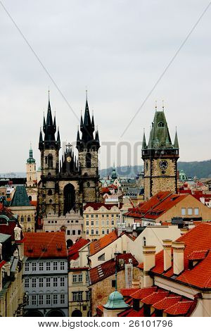 Prague. Bird eye view. Old town square