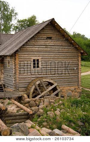Travel in Russia. Ancient watermill and peasant house