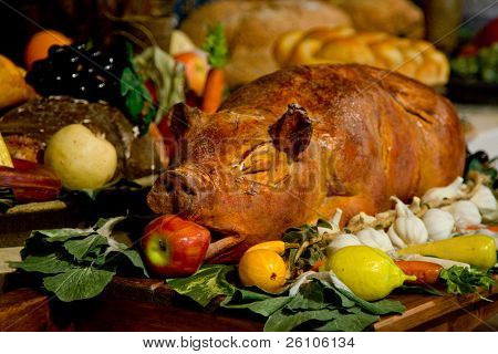 Christmas dinner. Roast pork